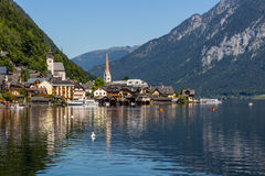 View of Hallstatt village in Alps, Austria Royalty Free Stock Image