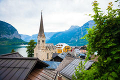 View of Hallstatt village with Christuskirche church bell tower Royalty Free Stock Images