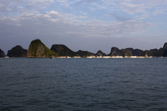 View of the Halong Bay full of boat cruising Stock Image