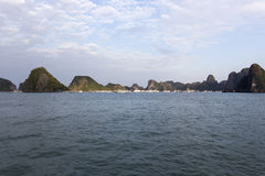 View of the Halong Bay full of boat cruising Royalty Free Stock Image