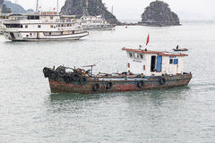 View of the Halong Bay full of boat cruising Stock Photo