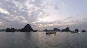 View of the Halong Bay full of boat cruising Royalty Free Stock Photo