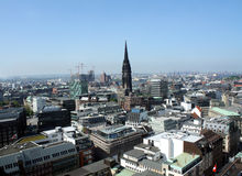 View on Hamburg. City and christian church, Germany Stock Photo