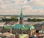 View of Hamburg. Aerial view of Hamburg city hall stock photo