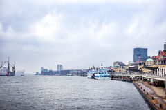 View of Hamburg buildings and river Elbe Royalty Free Stock Photos