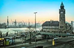 View of Hamburg city and port Stock Photos