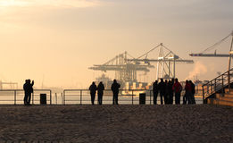 View of Hamburg Harbour at dawn. Stock Image