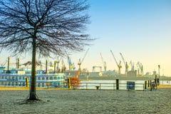 View of Hamburg port. Hamburg, Germany - FEBRUARY 15, 2017: view of Hamburg port and river Elba Stock Photography