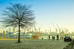 View of Hamburg port. Hamburg, Germany - FEBRUARY15, 2017: view of Hamburg port and river Elba Stock Photos