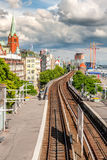 View of Hamburg with the railway. View of Hamburg with railway station and the construction cranes Royalty Free Stock Photos