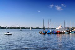 View on Hamburg`s Alster in the summer of 2018 stock images