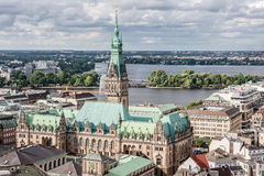 View of Hamburg from the top point of the old center and the lake Royalty Free Stock Photo