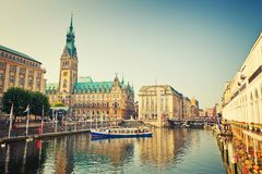 View on Hamburg townhall. Hamburg townhall and Alster river royalty free stock photo