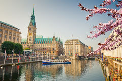 View on Hamburg townhall at spring Stock Image