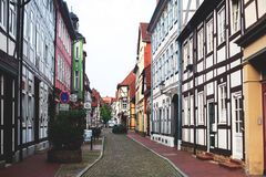 View of Hameln old town with market square and traditional german houses, Lower Saxony, Germany Stock Images