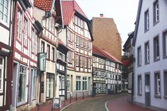 View of Hameln old town with market square and traditional german houses, Lower Saxony, Germany Royalty Free Stock Photo