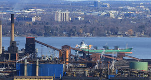 View of Hamilton harbour from the Niagara escarpment with lake f Stock Photo
