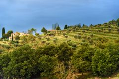 View on Fonterutoli on sunrise. It is hamlet of Castellina in Chianti in province of Siena. Tuscany. Italy. View on hamlet Fonterutoli on sunrise. It is old stock images
