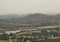 View of Hampi and Tungabhadra river, Hampi, India Royalty Free Stock Images
