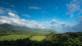 View of Hanalei after storm with rainbow royalty free stock image