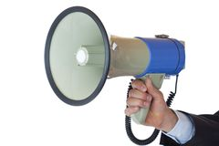 View of a hand holding a megaphone. Isolated on white background Royalty Free Stock Images
