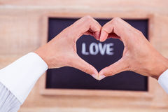 View of hands making heart shape Royalty Free Stock Images
