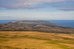 View of Hanga Roa town from Mauna Tere vaka Volcano in Easter island royalty free stock photos