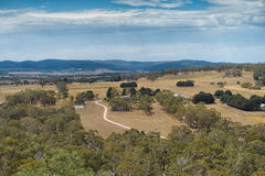 View from Hanging Rock, Mount Macedon Ranges. Site of the famous Picnic at Hanging Rock film which documents the mystery disappearance of several college school Stock Photo