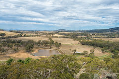 View from Hanging Rock, Mount Macedon Ranges. Site of the famous Picnic at Hanging Rock film which documents the mystery disappearance of several college school stock images