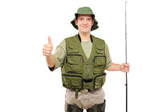 A view of a happy fisherman with thumb up Stock Image