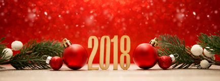 Happy new year 2018 background with christmas decoration. View of a Happy new year 2018 background with christmas decoration Royalty Free Stock Photography
