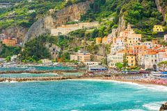 View of harbor of Amalfi town on Amalfi coast, Campania, Italy Stock Photos