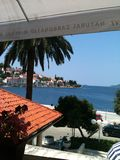 View of the harbor from a cafe. Taken during a vacation to Croatia's Mediterranean Coast Royalty Free Stock Photo