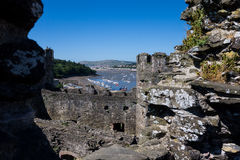 View on the harbor of Conwy from the medieval castle Royalty Free Stock Images
