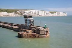 View at harbor Dover with pier and white cliffs Royalty Free Stock Photography