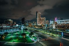 View of Harbor Drive and the downtown skyline at night, in San Diego, California royalty free stock photo