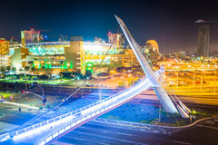 View of the Harbor Drive Pedestrian Bridge at night, in San Dieg Stock Images