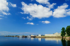 View of the harbor and Fish markets, Kronstadt Stock Photo
