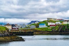 View of the harbor at Grundarfjordur Village. In the north of the Snaefellsnes peninsula in the west of Iceland stock photos
