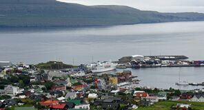view of the harbor from the hill, Torshaven, Faroes islands
