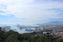 View of the harbor in Malaga, Spain Stock Images