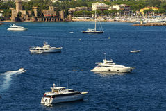 View of Harbor and marina with moored yachts and motorboats in C Stock Photography