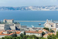 View of harbor in Marseilles. France Stock Images