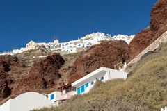 View from the harbor on Oia, a beautiful village on the volcanic island of Santorini Stock Photos