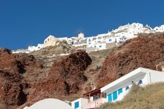 View from the harbor on Oia, a beautiful village on the volcanic island of Santorini Stock Images
