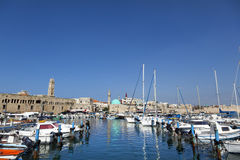 Old Acco Harbour. View at the harbor of the old town of Acco (Acre) in Israel Royalty Free Stock Photo