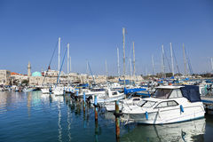 Old Acco Harbour. View at the harbor of the old town of Acco (Acre) in Israel Stock Photos