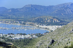 View of the harbor of Port de Pollenca Stock Images