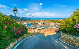View of harbor and Porto Rotondo village, Sardinia island, Italy. View of harbor and village Porto Rotondo, Sardinia island, Italy royalty free stock photography