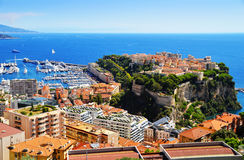 View of the harbor and Prince's Palace of Monaco Stock Photos